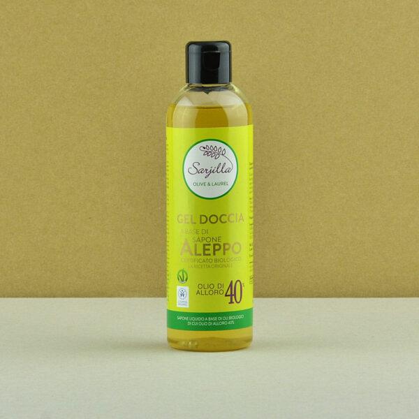 Gel doccia Sarjilla. Gel doccia a base di sapone di Aleppo 40% certificato biologico. Acquista online.